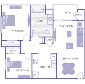 2 bed 1 bath floor plan, kitchen, dining room, living room, patio and storage, 3 closets, 1 linen closet