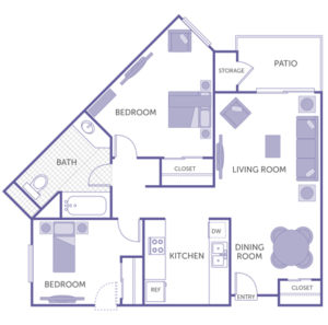 2 bed 1 bath floor plan, kitchen, dining room, living room, patio and storage, 3 closets
