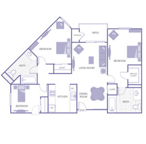 3 bed 2 bath floor plan, living room, kitchen, dining room, patio and storage, 1 walk-in closet, 3 closets